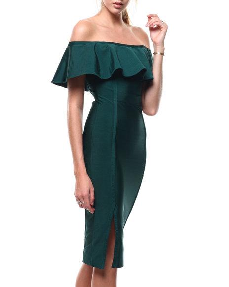 Fashion Lab - Off Shoulder Bandage Slit Dress