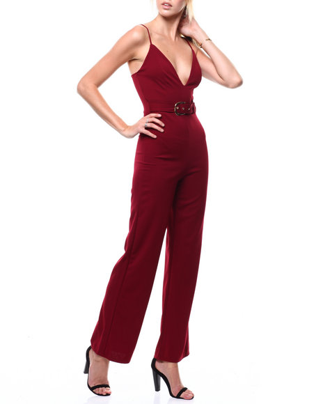 Fashion Lab - S/L Deep V-Neck Belted Jumpsuit
