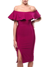 Bodycon - Off Shoulder Bandage Slit Dress-2285186