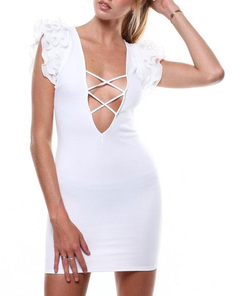 Fashion Lab - S/L Tulle Sleeve Lace-up Deep V-Neck Dress