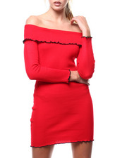 Almost Famous - Off Shoulder Merrow Edge Ribbed L/S Mini Dress-2286046