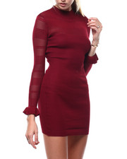 Midi & Maxi - Mock Neck Pointelle Mixed Rib Dress-2286145