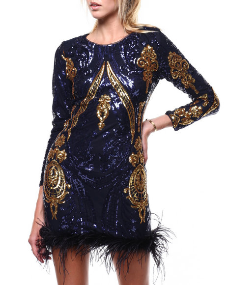 Fashion Lab - L/S Sequin Feathered Hem Dress