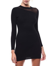 Bodycon - Rib Mk Nk Asymmetric Mesh Insert Mini Dress L/S-2286463