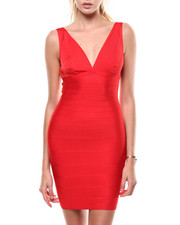 Bodycon - S/L V-Neck Bandage Dress-2285178
