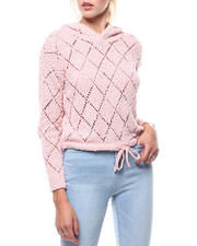 Almost Famous - Popcorn Yarn Pointelle Hooded Crop Pullover-2286026