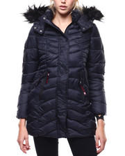 Outerwear - Quilted Long Faux Fur Trim Hooded Bubble Jacket-2286697