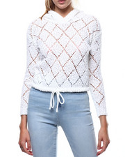 Almost Famous - Popcorn Yarn Pointelle Hooded Crop Pullover-2286031