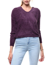 Almost Famous - Chenille Yarn Hooded Pullover-2286021