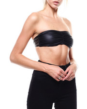 Tops - Faux Leather Rouched Bandeau-2285199