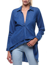 Fashion Lab - Denim L/S Vneck Hi-Low Hem Tunic-2286154