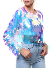 Fashion Lab - Large Sequin L/S Crop Top-2285169
