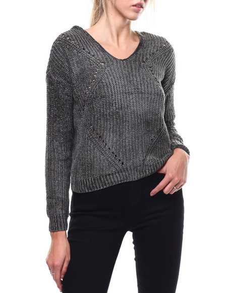 Almost Famous - Chenille Yarn Hooded Pullover