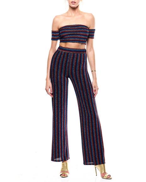 Fashion Lab - Off Shoulder Stripe Crop Wide Leg Pant Set