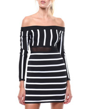 Bodycon - L/S Stripe Off Shoulder Mesh Inset Bandage Dress-2284925