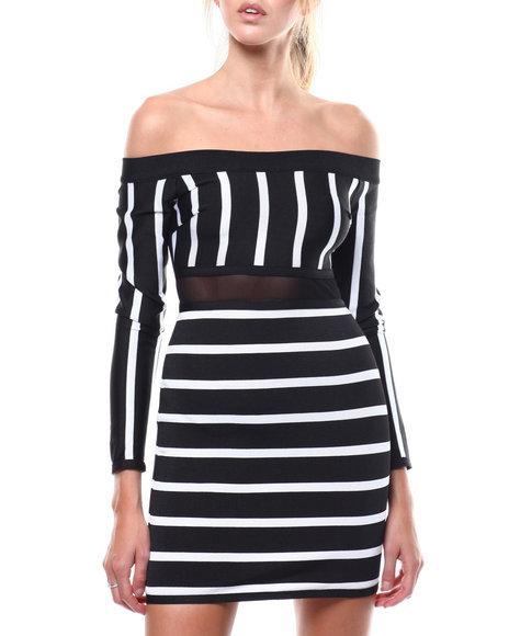 Fashion Lab - L/S Stripe Off Shoulder Mesh Inset Bandage Dress