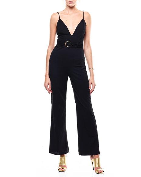Fashion Lab - S/L Deep V-Neck Belted Jumpsuit