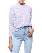 Almost Famous - Shine Chenille Cable Mock Neck L/S Pullover-2286086