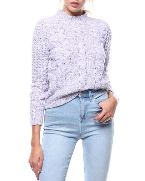 Almost Famous - Shine Chenille Cable Mock Neck L/S Pullover