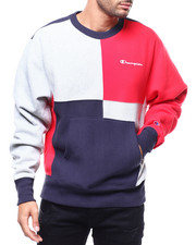 Mens-Holiday - COLORBLOCK REVERSE WEAVE CREW-2287797