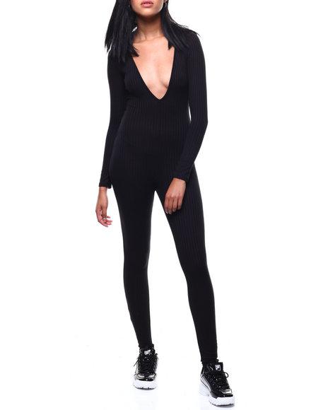 Fashion Lab - L/S Deep V-Neck Catsuit