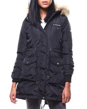 Womens-Winter - Puffer Jacket/Fur Trim Hood & Lace Up Sleeve-2288078