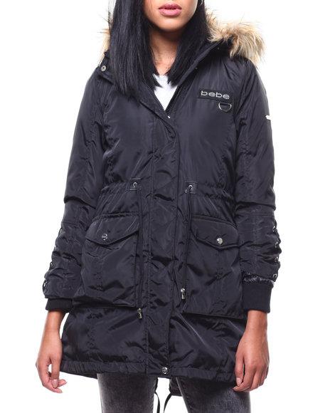 Bebe - Puffer Jacket/Fur Trim Hood & Lace Up Sleeve
