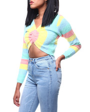Sweaters - Stripe Off Shoulder Twist Front L/S Crop Sweater-2288100