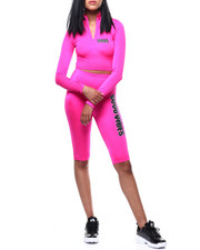 Sets - Good Vibes Half Zip L/S Crop Hi Waist Bike Set-2286639