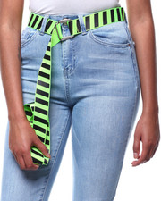 Fashion Lab - Stripe Neon Elongated Belt-2286354
