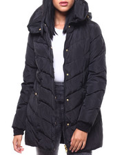 Womens-Winter - Chevron Quilted Pillow Collar Puffer-2288073
