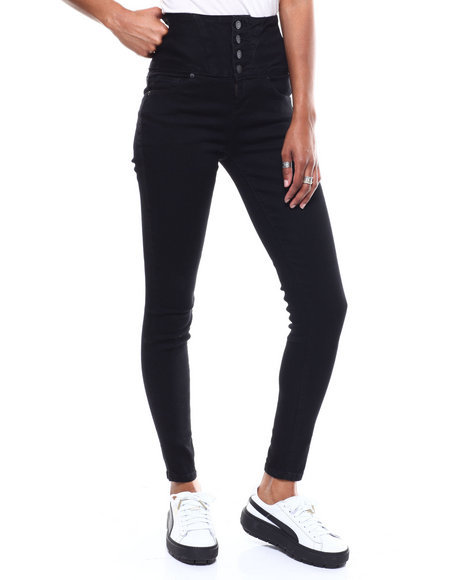 SECRETS - 4 Button Hi Rise Stacked Waist Skinny Jean