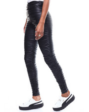 Bottoms - Faux Leather Rouched High Waist Legging-2286507