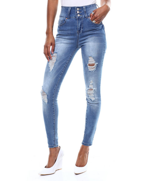 SECRETS - 3 Button Stacked Waist Distressed Skinny Jean