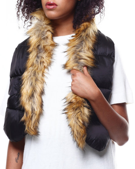 Fashion Lab - Woven Puffer Scarf/Faux Fur