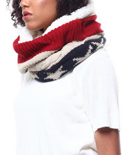Fashion Lab - Americana Pattern Cable Knit Scarf-2268730