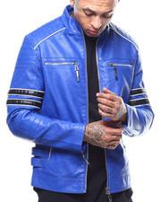 Outerwear - Arm Stripe Moto PU Jacket-2289090