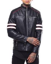 Outerwear - Arm Stripe Moto PU Jacket-2289130