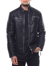Outerwear - Ribbed Moto PU Jacket-2289137