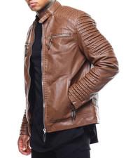 Outerwear - Ribbed Moto PU Jacket-2289077