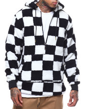 Outerwear - Check Pattern Sherpa Anorak Hoodie-2288895