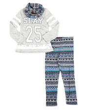 Sizes 7-20 - Big Kids - 3 Piece Lace Insert Top w/ Legging and Scarf Set (7-16)-2288553