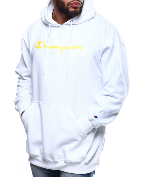 Champion - L/S Script Logo Fleece Printed Pullover Hoodie (B&T)