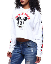 Fashion Lab - Mickey Front Sleeve Hit Crop Hoodie-2289562