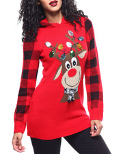 Almost Famous - Reindeer Christmas Hooded L/S Sweater-2288290