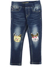 Sizes 2T-4T - Toddler - Pull-On Jeans W/ Flip Sequins Cat Knee Patch (2T-4T)-2289779