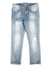Girls - Ankle Skinny Jeans W/ Pearls, Rhinestones N Rips (7-16)-2289838