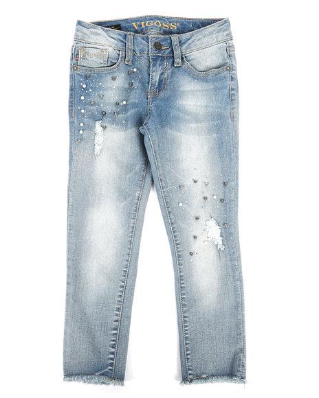 Vigoss Jeans - Ankle Skinny Jeans W/ Pearls, Rhinestones N Rips (7-16)