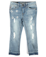 Sizes 4-6x - Kids - Ankle Skinny Released Hem Rips, Stones & Pearl Jeans (4-6X)-2289826