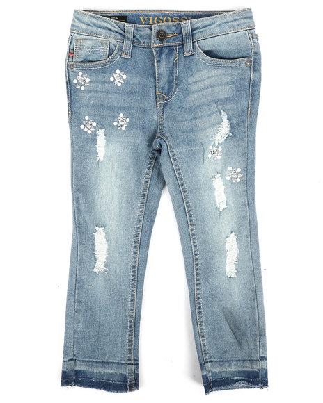 Vigoss Jeans - Ankle Skinny Released Hem Rips, Stones & Pearl Jeans (4-6X)